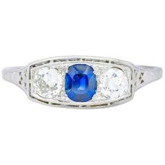 Edwardian 1.38 Carat Diamond Sapphire Platinum Three-Stone Band Ring