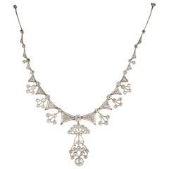 Edwardian 13.95 Carat Diamond Platinum Rare Statement Necklace