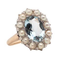 Edwardian 14 Karat Aquamarine Ring and Pearl Ring, circa Late 1800s