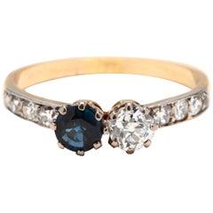Edwardian 14 Karat Bi-Color Gold Diamond and Sapphire Toi et Moi Ring