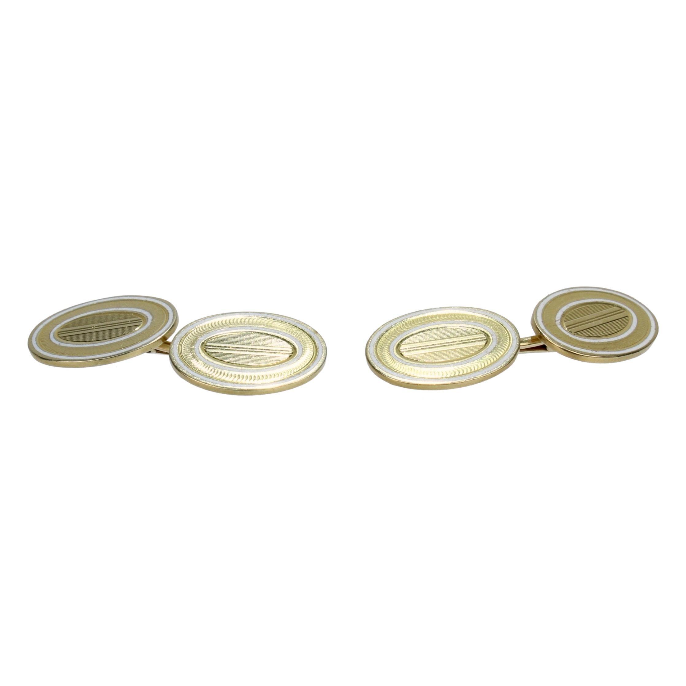 Edwardian 14 Karat and Enamel Oval Cufflinks by Carrington & Co.