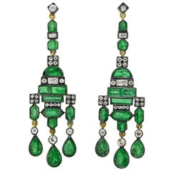 Edwardian 14 Karat Gold and Sterling Silver Emerald Diamond Chandelier Earrings