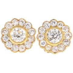 Edwardian 14 Karat Yellow Gold 4.11 Carat Old European Cut Diamond Stud Earrings