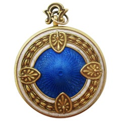 Edwardian 14 Karat Yellow Gold Enamel Two Photo Locket
