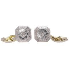 Edwardische 14 Karat Gelbgold Platin Diamant Manschettenknöpfe 9,60 Gramm