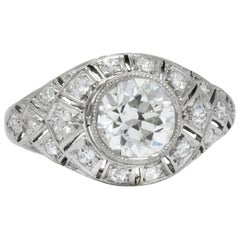 Edwardian 1.40 Carat European Diamond Platinum Engagement Ring GIA, circa 1910