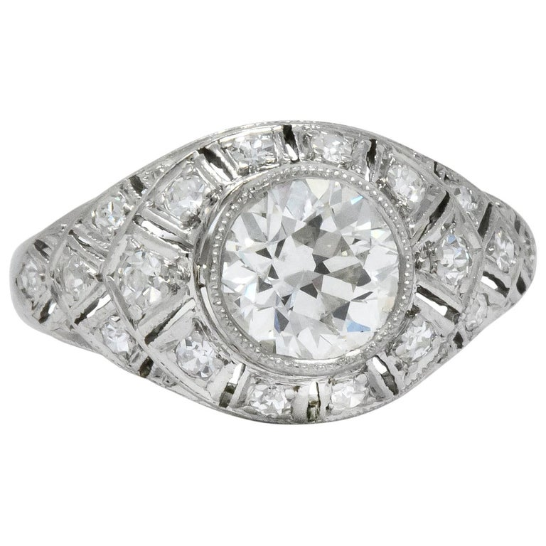 Edwardian 1.40 Carat European Diamond Platinum Engagement Ring GIA, circa 1910 For Sale