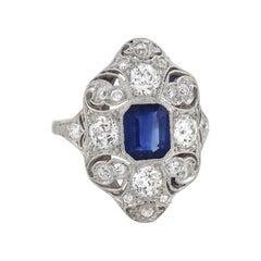 Edwardian 1.40 Carat Sapphire and Diamond Filigree Ring