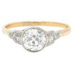 Edwardian 1.40 Carats Diamond Platinum-Topped 14 Karat Gold Engagement Ring