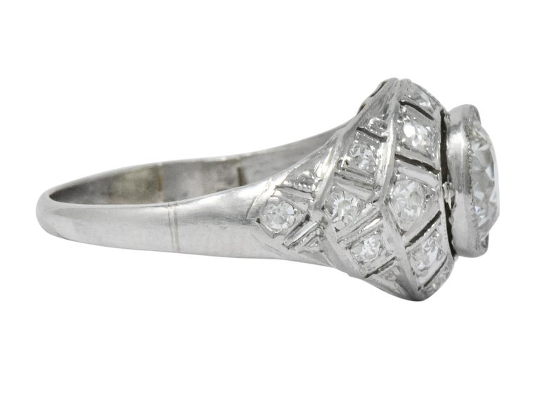Old European Cut Edwardian 1.40 Carat European Diamond Platinum Engagement Ring GIA, circa 1910 For Sale