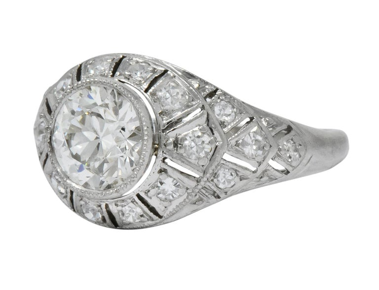 Edwardian 1.40 Carat European Diamond Platinum Engagement Ring GIA, circa 1910 For Sale 1