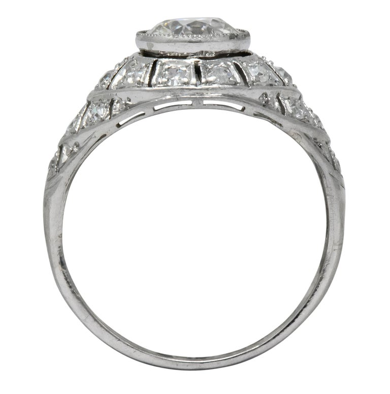 Edwardian 1.40 Carat European Diamond Platinum Engagement Ring GIA, circa 1910 For Sale 2