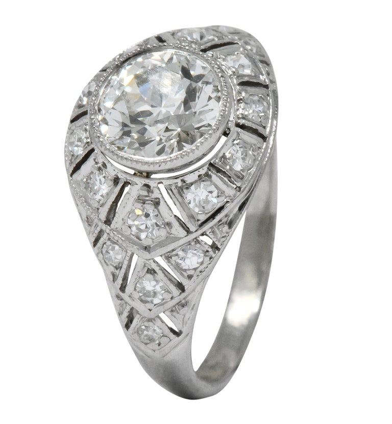 Edwardian 1.40 Carat European Diamond Platinum Engagement Ring GIA, circa 1910 For Sale 3