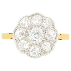 Edwardian 1.45 Carat Cluster Daisy Ring, circa 1910