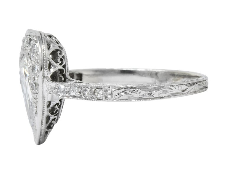 Edwardian 1.45 Carat Pear Cut Diamond Platinum Heart Engagement Ring For Sale 1