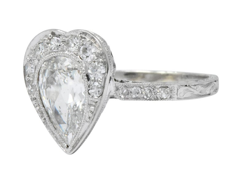 Edwardian 1.45 Carat Pear Cut Diamond Platinum Heart Engagement Ring For Sale 2