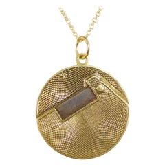 Edwardian 14ct Yellow Gold Cigar Cutter Pendant on 9ct Yellow Gold Chain