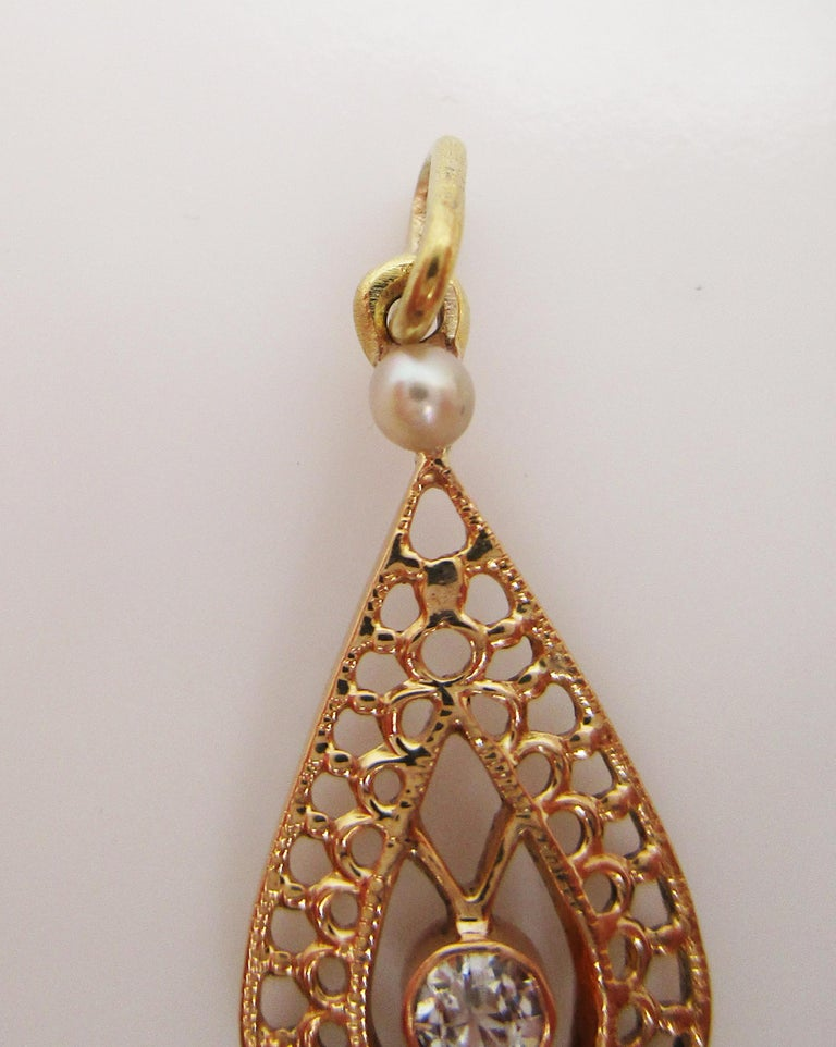 Old Mine Cut Edwardian 14 Karat Yellow Gold Diamond and Pearl Pear Shaped Moveable Pendant For Sale