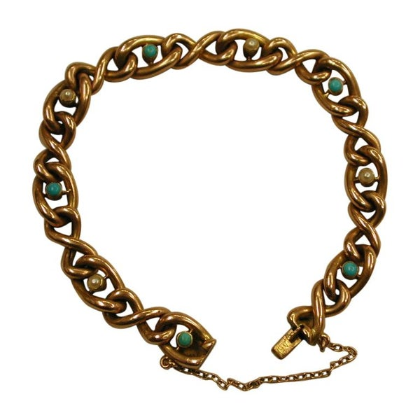 Edwardian 15 Ct Gold Curb Bracelet Set with Cabochon Pearls and Turquoise,c.1900