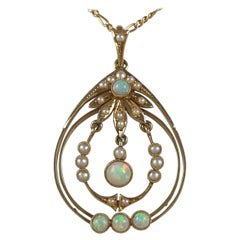 Edwardian 15 Karat Yellow Gold Opal and Pearl Pendant