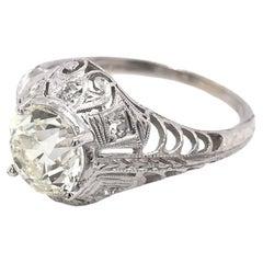 Edwardian 1.50 Carat Vintage Platinum Diamond Engagement Ring