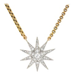 Edwardian 1.50 Total Carat Diamond Starburst Pendant Necklace
