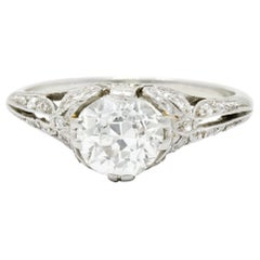 Edwardian 1.52 Carat Old European Cut Diamond Platinum Bow Engagement Ring