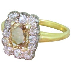 Edwardian 1.52 Carat Rose Cut and Old Cut Diamond Coronet Cluster Ring