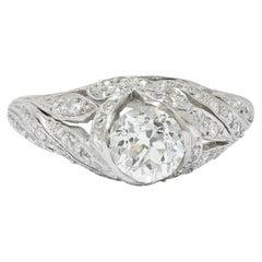 Edwardian 1.55 Carat Diamond Platinum Bow Engagement Ring GIA
