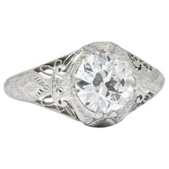 Edwardian 1.55 Carat Transitional Cut Diamond Engagement Ring, circa 1915