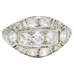 Edwardian 1.55 Carats Diamond 18 Karat White Gold Bombe Band Ring