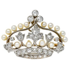 Edwardian 1.58 Carat European Diamond Pearl Platinum-Topped Gold Crown Pendant