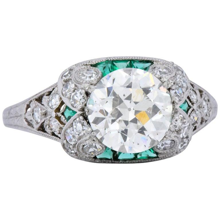 Edwardian 1.59 Carat Old European Diamond Emerald Platinum Engagement Ring GIA For Sale