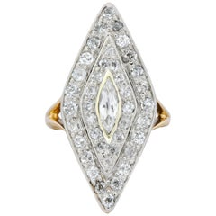 Edwardian 1.60 Carat Diamond Platinum-Topped 14 Karat Gold Navette Dinner Ring