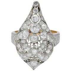 Edwardian 1.60 Carat European Diamond Platinum 14 Karat Rose Gold Cocktail Ring