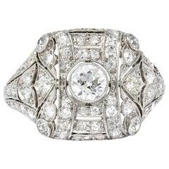 Edwardian 1.60 Carat Old European Cut Diamond Platinum Dinner Ring