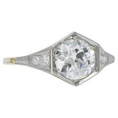 Edwardian 1.61 Carat Diamond Platinum-Topped 14 Karat Gold Engagement Ring GIA