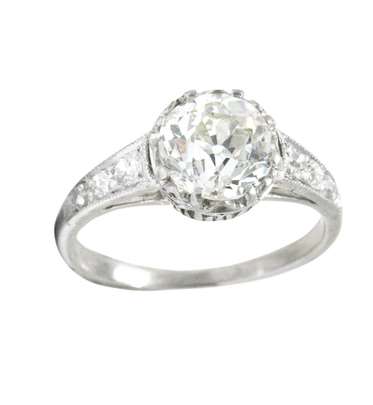 Edwardian Engagement Rings For Sale: Edwardian 1.64 Carat Diamond Platinum Engagement Ring GIA