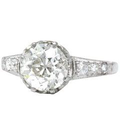 Edwardian 1.64 Carat Diamond Platinum Engagement Ring GIA