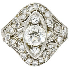 Edwardian 1.68 Carat Diamond Platinum Foliate Navette Dinner Ring