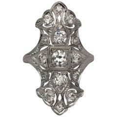 Edwardian 1.71 Carat Old European Cut Diamond Platinum Shield Cocktail Ring