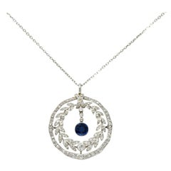 Edwardian 1.75 Carat Sapphire Diamond Platinum Laurel Pendant Necklace