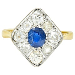 Edwardian 1.77 Carat Sapphire Diamond Platinum 18 Karat Gold Navette Ring