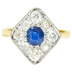 Edwardian 1.77 Carat Sapphire Diamond Platinum 18 Karat Gold Navette Ring