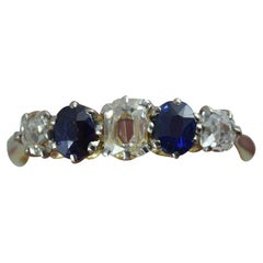 Edwardian 18 Carat Gold 0.5 Carat Old Cut Diamond and Sapphire Stack Band Ring