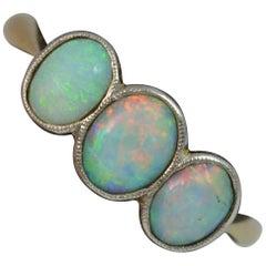 Edwardischer 18 Karat Gold und Opal Trilogie Stack Ring