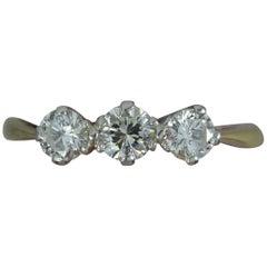 Edwardian 18 Carat Gold and Platinum 0.5 Carat Diamond Trilogy Ring