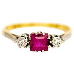 Edwardian 18 Carat Gold and Platinum Ruby and Diamond Three-Stone Ring