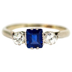 Edwardian 18 Carat Gold and Platinum Sapphire and Diamond Three-Stone Ring