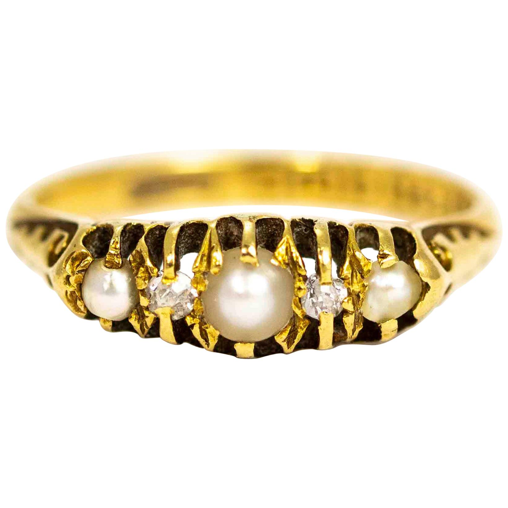 Edwardian 18 Carat Gold Diamond and Pearl Five-Stone Ring